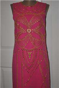 VERSACE for H&M Hot Pink Metal Gold Studded Silk Cocktail Dress 36 EU