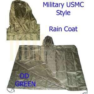 Military USMC Style Poncho Rain Coat Water resistant OD