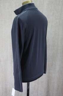 Hugo BOSS Mens Piceno Dark Grey Cotton Jersey half zip Pullover