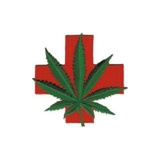 Iron on   Weed Medical Red Cross Marijuana Pot Leaf Patch Clothing