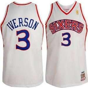 Philadelphia 76ers #3 Allen Iverson White Throwback Jersey