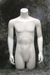 372937 MALE MANNEQUIN TORSO W/ARMS MATTE WHITE (PH9