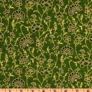 44 Wide Seasons Greetings Winter Floral Green Fabric By The Yard