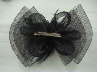 Feather Black Flower Headpiece Fascinator Hair Clip BA140
