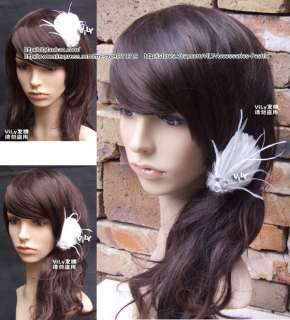 VILY Bridal Hair Clip Fascinator WHITE Feather Crystal