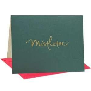 Atsui Cards, Box Set of 6 Blank Note Cards, Mistletoe (Pine