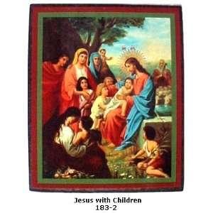 Jesus with Children Wood Icons, 2.5 X 3