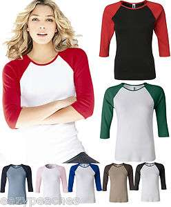 Bella Ladies NEW Size S 2XL Baseball Raglan 3/4 Sleeve T Shirt TEE