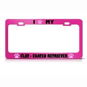 Flat Coated Retriever Paw Love Pet Dog Metal license plate