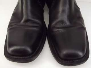 Mens boots black leather dress Aldo 45 12 M square toe ankle zip