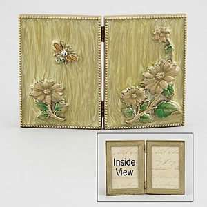 Beautiful Jeweled Picture Frame Fiori Double Cream/Gold