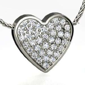 Fenice Pave Heart Pendant, 14K White Gold Necklace with