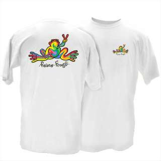 Peace Frogs Classic Retro T Shirt White Unisex Style Love Happiness
