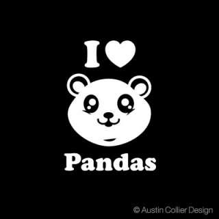 LOVE PANDAS Vinyl Decal Car Sticker   Cute Panda Bear