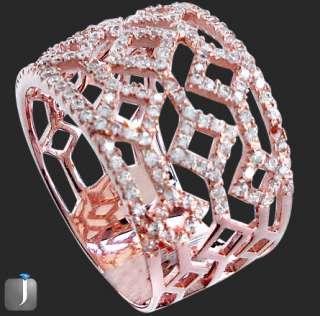 Sz 7 MICRO PAVE WHITE TOPAZ ROSE GOLD 925 SILVER ITALIAN DESIGNER RING