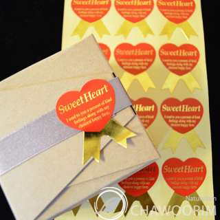 75pcs Sweet Heart Gold Stickers Packing Material/Gift wrap 3cmx3.8cm/1