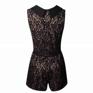 NEW WOMENS LADIES BELTED LACE CROCHET COLLAR PLAYSUIT JUMPSUIT UK SIZE