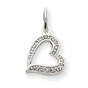 14k Gold White Gold Diamond Heart Charm Jewelry