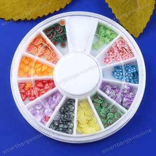 240Pc Mixed 3D Fimo Slice Fruit Flower Animal Canes Nails Art