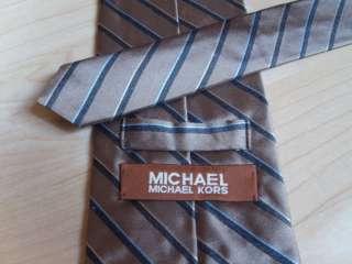 Mens MICHAEL KORS Stripe Silk Tie Gold w/ Black & Light Blue FREE SHIP