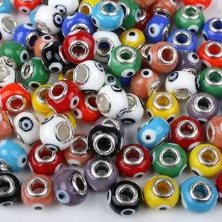 100P Mixed Lampwork Glass Evil Eye Fit Bracelet Beads