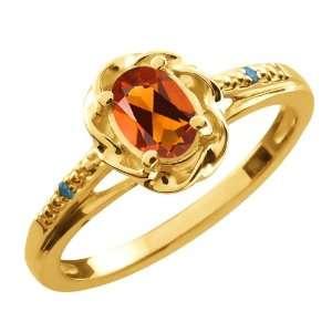 0.41 Ct Oval Orange Red Madeira Citrine Blue Diamond Gold