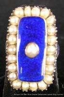Antique Estate Ladies 14k Yellow Gold Ring with Pearls & Blue Enamel