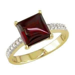 14K Yellow Gold 1/8 ctw Diamond and Garnet Ring I J,I2 I3