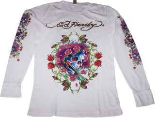 New Mens Ed Hardy White Beautiful Ghost Thermal T Shirt