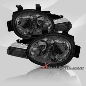 95 99 Dodge Neon Halo Projector Headlights   Smoke (Pair