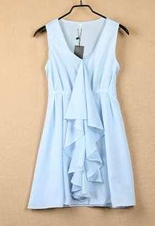 Hot Korea Chiffon Ruffle Sleeveless Sundress Mini Dress