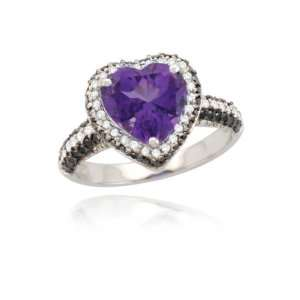 10k White Gold Heart Amethyst Black and White Diamond Ring