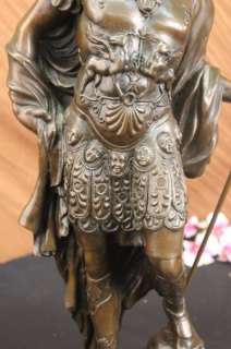 SIGNED VERY TALL GREEK WARRIOR BRONZE SCULPTURE STATUE