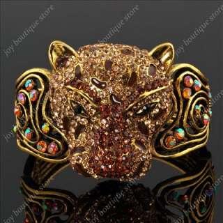 Brown rhinestone tiger wild animal gold bracelet bangle