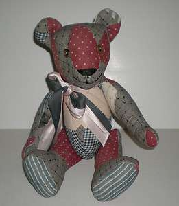Vtg Old Handmade Teddy Bear Antique Quilt Quilts & Buttons Jointed One
