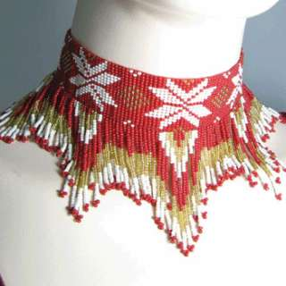 RED WHITE GOLDEN SEED BEADED GRAND BIB NECKLACE CHOKER