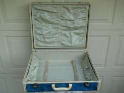 Vintage Blue Marble Hard Shell Luggage Suitcase 21x18x8 Clean Inside