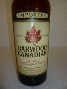 HARWOOD CANADIAN WHISKY VINTAGE 4/5 QUART GLASS BOTTLE WHISKEY CANADA