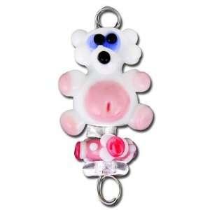 Handmade Pink Teddy Bear Baby Spoon Lampwork Bead Set