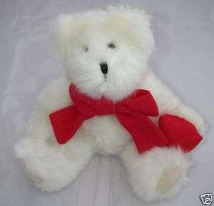 Hallmark Plush White TEDDY BEAR Jointed Red Heart/Bow