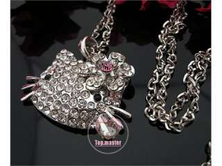 Beautiful HOT hello kitty face crystal necklace H63