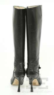 Jimmy Choo Black Leather Knee High Violet Heeled Boots Size 38