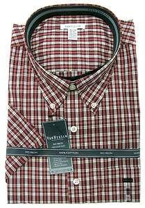 Van Heusen Mens Dark Red Plaid Relaxed Fit No Iron Button down Shirt