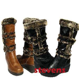 Womens FASHION KNEE HIGH BOOTS MID CALF Black Winter Fur Lined Wedge