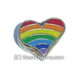 Rainbow Heart Floating Locket Charm Jewelry