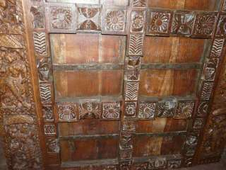 Antique Temple Door Hand Carved Teak Wood Indian Panel