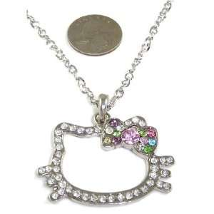 Large Hello Kitty Crystal Face Outline Trendy Necklace