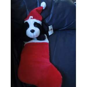 Puppy Christmas Red/white Plush Stocking Appx 18 Tall and 11 Heal to