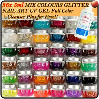 36 X Mix Colors Nail Art Tips Glitter UV Builder Gel Kit+Cleanser Plus