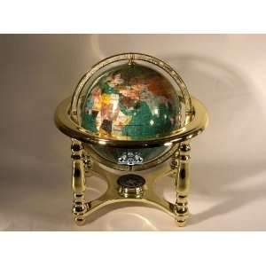 Copper world map globe by authentics top gemstone world map globe with 4 leg gold stand gumiabroncs Image collections